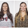 """August 16, 2010. Vancouver, Canada.  Before and after photos revealing how a marginalized woman presents herself to the world in Vancouver, Canada.   Quotes from the subject about why she dresses this way:""""I used to sell drugs and I wanted that to be separate from my personal life. With extreme makeup, nobody could recognize me from those times when I was with my children. The police arrested me at home once and they weren't sure they had the right person because I wasn't wearing makeup—but then they took my fingerprints. So that's what got me into it. I think that I'm naturally beautiful and now it's just playful to shock people, even my boyfriend. I'm more adventurous when I'm all done up. I try more things—I'll go into a nice restaurant. When I'm not made up, I'm a little more timid. Lately I've been taking inspiration from my culture. I'm Native and my father was a medicine man. I was thinking of opening up a line of fashion with moose hide and stuff. It's so caveman-ish. I think it's sexy."""""""